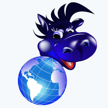 Dark blue dragon a symbol of new 2012 on east calendar photo