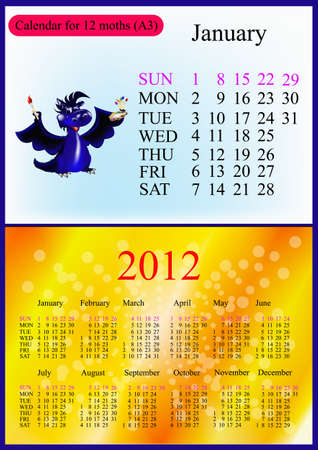 a3: January. 2012 Calendar.Dark blue dragon-New Years a symbol of 2012. A3