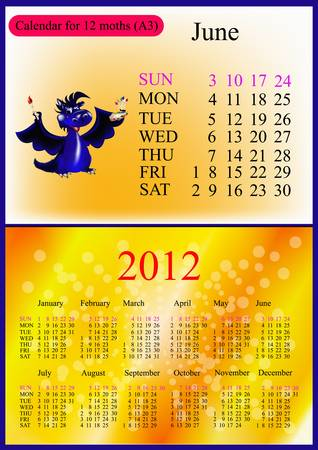 June. 2012 Calendar.Dark blue dragon-New Year Vector