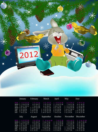 melodies: Celebrating of new year in fantastic wood under favourite melodies of an old radio receiver Stock Photo