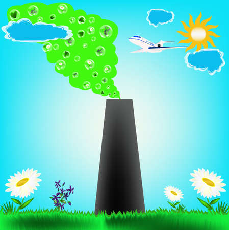 Protective actions from polluting emissions in atmosphere, are the modern ecological concept photo