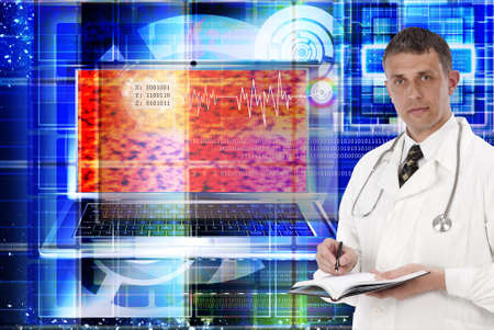 researches: Scientific computer researches of public health services in the field of genetics. Stock Photo