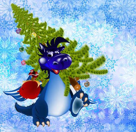 Dark blue dragon a symbol of new 2012 on east calendar photo