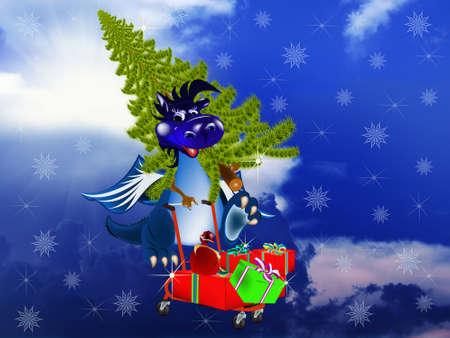 Dark blue dragon a symbol of new 2012 on east calendar Stock Photo - 11070836