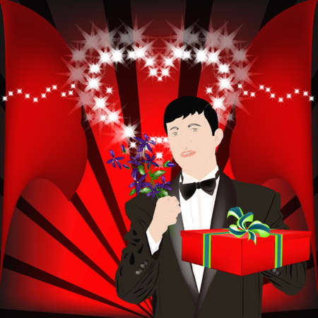 The enamoured elegant man gives a gift for favourite and a beautiful bunch of flowers  Vector