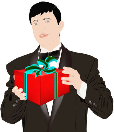 The enamoured elegant man gives a gift for favourite photo