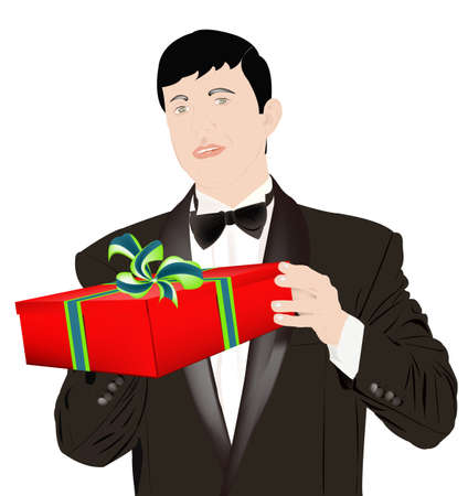 favourite: The enamoured elegant man gives a gift for favourite Illustration