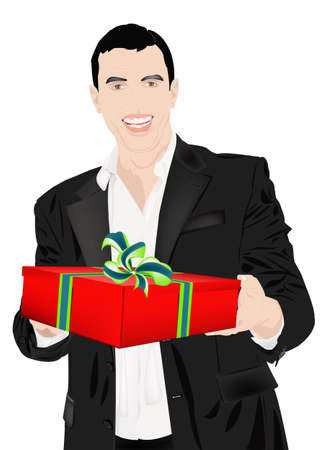 enamoured: The enamoured elegant man gives a gift for favourite Stock Photo