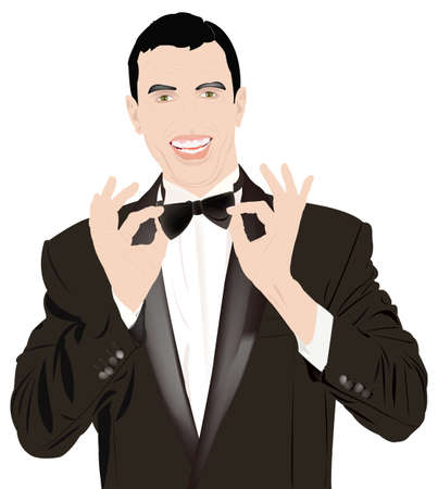 Portrait the man in a classical tuxedo on an white  background Vector
