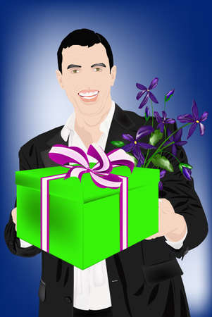 the enamoured: The enamoured elegant man gives a gift for favourite and a beautiful bunch of flowers  Illustration