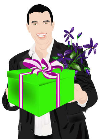 enamoured: The enamoured elegant man gives a gift for favourite and a beautiful bunch of flowers  Stock Photo