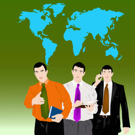 collective: Collective of successful businessmen offer business cooperation Illustration