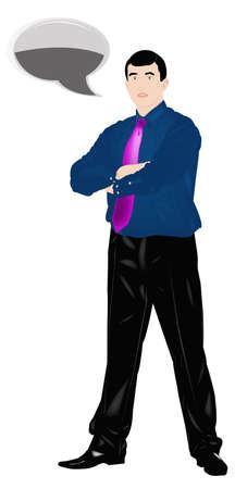 imposing: L'uomo d'affari elegante imponente su uno sfondo bianco Vettoriali