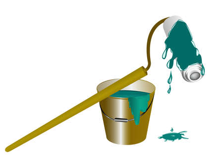 Bucket with a paint and the painting tool your reliable assistants in any repair office and premises photo