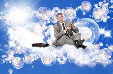 investmen: Pink dreams in soap bubbles about riches and financial profit