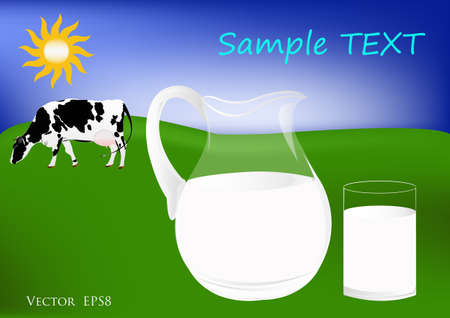 Fresh cow milk contains vitamins and it is useful for health Vector