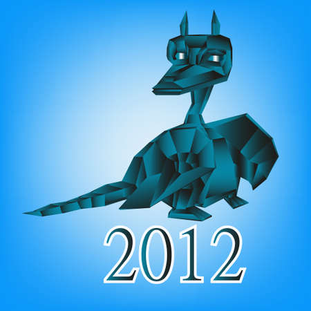 Dark blue fantastic dragon a symbol 2012 new years Stock Photo - 11438040