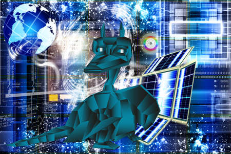 The newest computer the technology Internet in New Year of the Dark blue fantastic Dragon photo