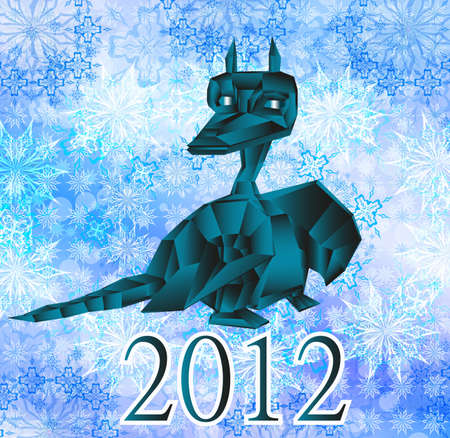 Dark blue fantastic dragon-symbol 2012 New Years.Calendar photo
