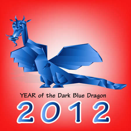 Dark blue fantastic dragon a symbol 2012 new years Vector