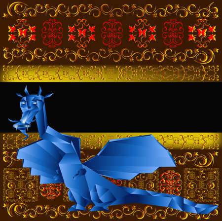 Dark blue fantastic dragon a symbol 2012 new years photo