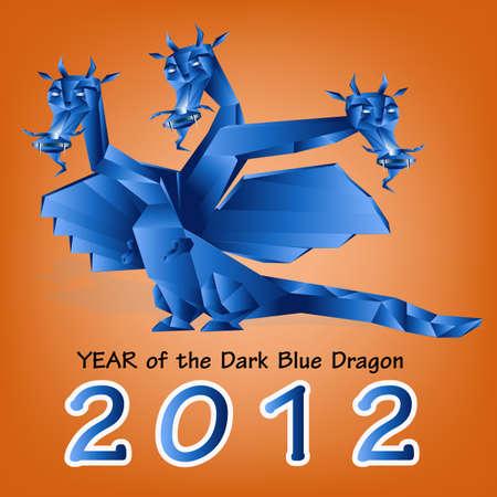 Dark blue fantastic dragon a symbol 2012 new years Stock Vector - 11674389