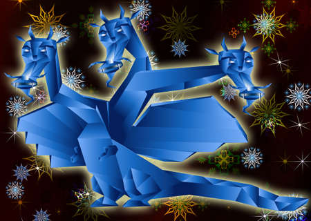 Fantastic dragon a symbol 2012 new years on abstract background Stock Photo - 11674392