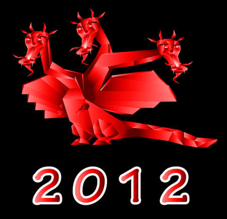 Fantastic dragon a symbol 2012 new years on black background photo