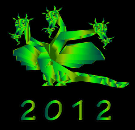 Fantastic dragon a symbol 2012 new years on black background Stock Photo - 11663535