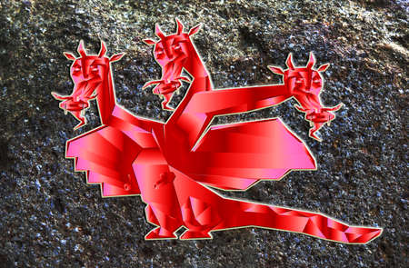 Fantastic dragon a symbol 2012 new years on abstract background photo