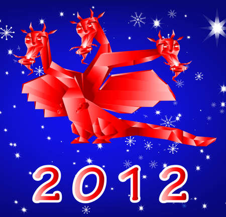 Fantastic dragon-symbol 2012 New Years on an abstract winter background photo