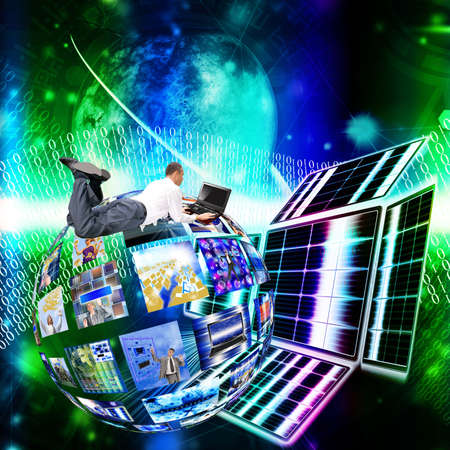 the newest: Development of the newest telecommunication and the Internet of technologies in free space Stock Photo