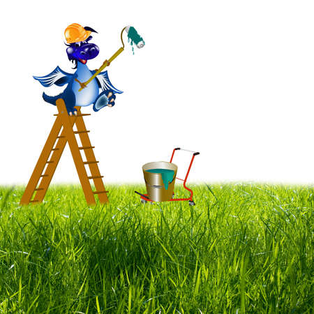 stepladder: The dark blue dragon-house painter on a step-ladder will paint your life in colours of beauty and happiness