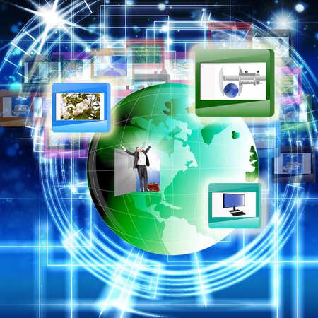 Equipo innovador de la tecnología de Internet para las redes sociales El concepto de Internet Foto de archivo
