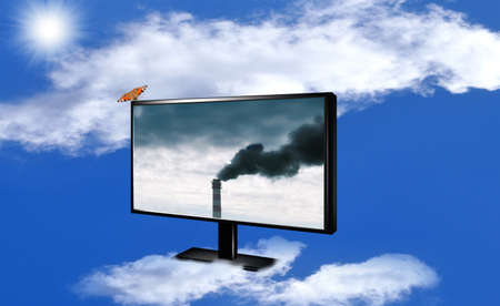 Harmful poisonous emissions from the industrial enterprises pollute surrounding nature Stock Photo - 12871925