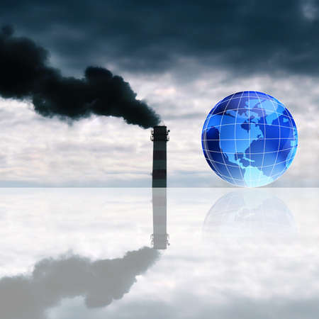 emissions: Harmful poisonous emissions from the industrial enterprises pollute surrounding nature