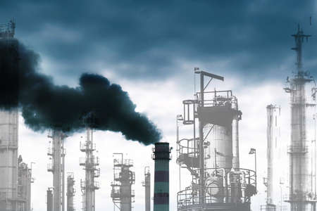 Harmful poisonous emissions from the industrial enterprises pollute surrounding nature Stock Photo - 12871935