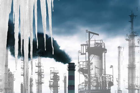 hotbed: Harmful industrial emissions in atmosphere from technological manufactures create a hotbed effect on a planet and accelerate thawing of glaciers Stock Photo