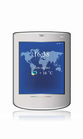 Silvery  abstract tablet pc on white background Illustration