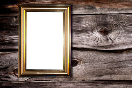 Decorative frame for a photo  on a old wooden background photo