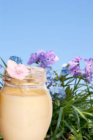 basis: Female balm on the basis of natural vegetative grasses and flowers for care of a face skin Stock Photo