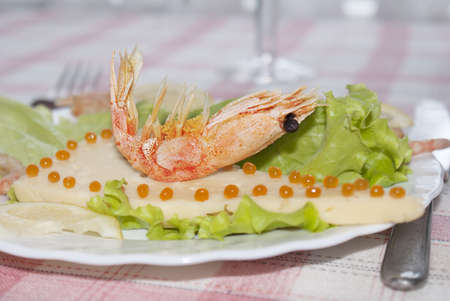 Sea shrimp on cheese with red caviar of a salmon and leaves of green salad   Restaurant background Stock Photo - 13944922
