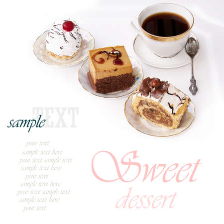 coffee cake: Sweet biscuit fresh dessert and morning black coffee