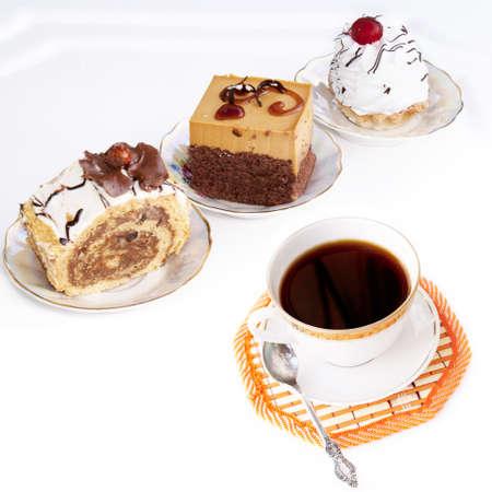 chocolate tart: Black morning coffee and fresh sweet cake