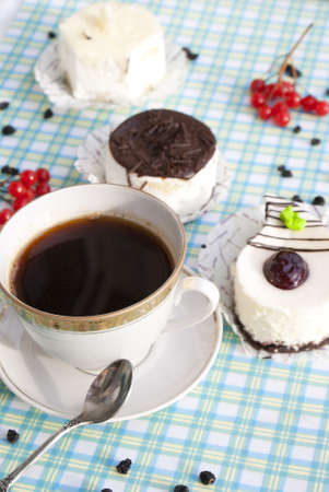 The morning black coffee with fresh cake photo
