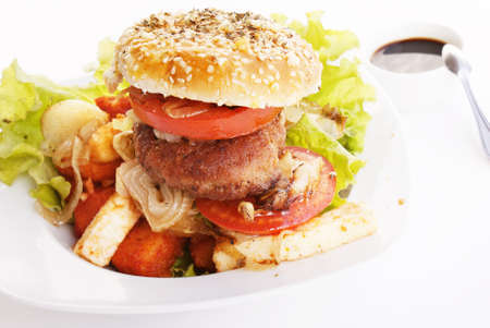 Burger and baked meat photo