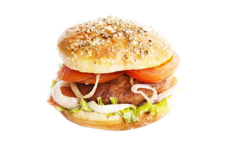 Burger with meat and baked vegetables on a white background photo
