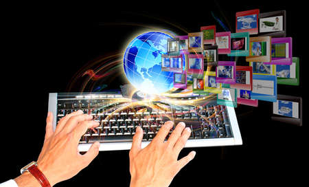 web designing: Innovative internet education The concept Stock Photo