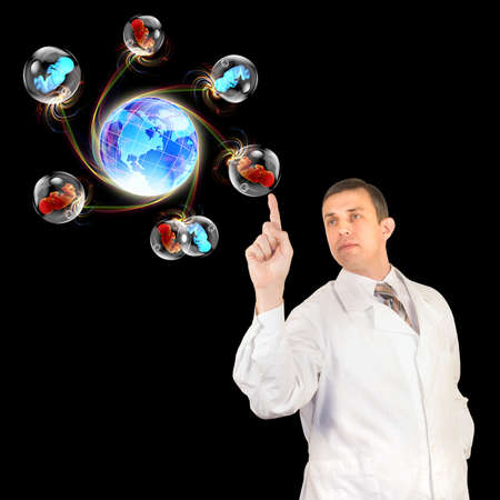 Medical research in the study of human genetic codes The genetics concept Stock Photo