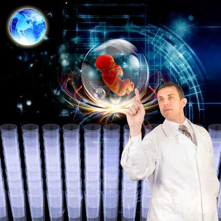 clonacion: La ingenier�a gen�tica Cient�fico clonaci�n investigaci�n innovadora Foto de archivo